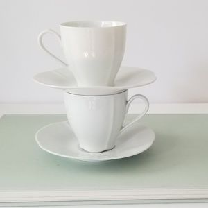 Tirschenreuth Dining - Set of Two (2) Crisp White Tea Cups with Saucers
